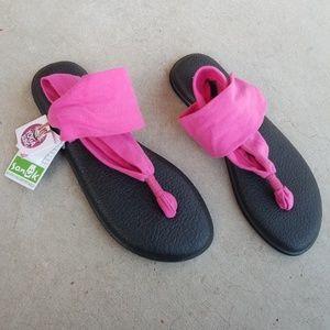 Sanuk Pink Yoga Sling Flip Flop Sandals
